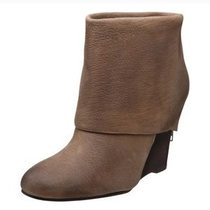 Ash Brown Leather Fold Over Bootie 9.5